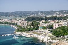 View from Old fortress on the capital of the island of Corfu Stock Images