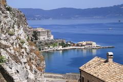 View from the Old Fortress of Corfu on the small city beach of F Stock Photo