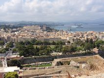 View from the old fortress on the Corfu Town, Gree Royalty Free Stock Photography