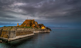 View of the old fortress in Corfu Town Greece Europe. 