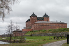The view of the old fortress-prison cloudy autumn day. Hameenlin. Na, Finland Royalty Free Stock Image