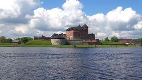 The view on the old fortress-prison on a sunny june day. Hameenlinna, Finland stock video