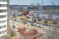View of the old garages and the ring road. Minsk, Belarus - 03/31/2019: View of the old garages and the ring road stock image