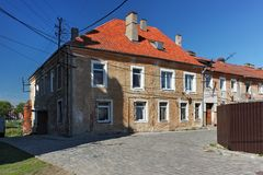 View of the old german shabby buildings in Pravdinsk prior Friedland, Russia. Pravdinsk was founded in 1312 by the Teutonic Knights. The city is located 53 km Royalty Free Stock Image