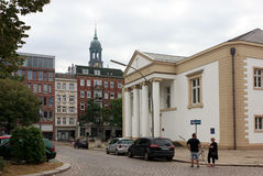 View of the old Hamburg. Michael and english curches in Hamburg. Sailors say. Church of Michael the first thing they see when they come to Hamburg and the last Stock Photography