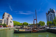 View of old harbor with anchored yachts in the district Delfshaven in Rotterdam. Stock Images