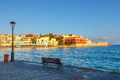 View of the old harbor in Chania Royalty Free Stock Photos