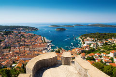 View of old harbor in Hvar town Royalty Free Stock Photography