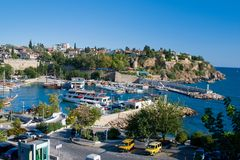 View at the old harbour in Antalya, Turkey. Boats at the old harbour in Antalya, Turkey Royalty Free Stock Photography