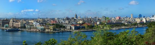 View of Old Havana in Cuba. Panorama of a beautiful view of the Old Havana, the Capicolio and Jose Marti Memorial in Havana in Cuba royalty free stock photo