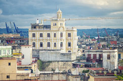View of Old Havana rooftops and pier Royalty Free Stock Images