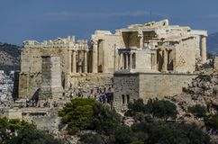 View of the entrance to the Acropolis of Athens Stock Image