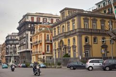 NAPLES, ITALY - OCTOBER 31, 2015: View of the old historical buildings in the center of Naples city. View of the old historical buildings in the center of royalty free stock images