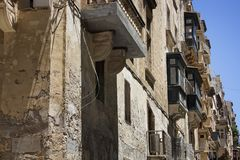 View of old, historical street in Valletta / Malta. Image shows Royalty Free Stock Photo