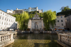 View of the old Horse Well at the Kapitelplatz Square in Salzburg stock image