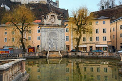 View of the old Horse Well at the Kapitelplatz Square. Salzburg, Lower Austria Stock Photo