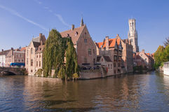 View of old houses and canal  at Brugge - Belgium Royalty Free Stock Photo