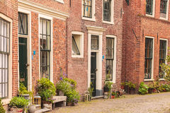 View at old houses in the Dutch city of Blokzijl Stock Photo