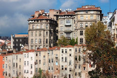 View of old houses and tiled roofs of Istanbul in the Beyoglu district. royalty free stock images