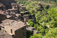 View of the old Italian city of Sorano. Tuscany Royalty Free Stock Images