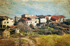 View of old Italian village in the Apennines mountains. Royalty Free Stock Images