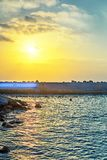 View from old Jaffa to the seaport at sunset royalty free stock photo