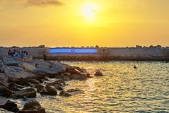 View from old Jaffa to the seaport at sunset stock image