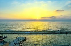 View from old Jaffa to the seaport at sunset stock photo
