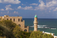 View of old Jaffa and  waves. Stock Photo