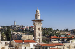 View of old Jerusalem and the minaret of the mosque al-Aqsa Royalty Free Stock Photos