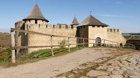 View of the old Khotyn Fortress. Old castle, stone fortress in Khotyn city, western Ukraine. Camera movement on the old Khotyn Fortress located on the right bank stock footage