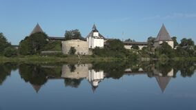 View of the old Ladoga fortress, quiet August morning. Leningrad region, Russia stock footage