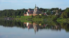 View of the old Ladoga St. Nicholas monastery. Staraya Ladoga, Russia. View of the old Ladoga St. Nicholas monastery on a quiet August morning. Staraya Ladoga stock video