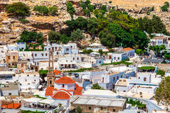 View of old Lindos. Stock Photo