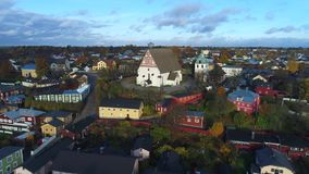 View of the old Lutheran Cathedral, October evening. Porvoo aerial video stock footage