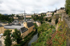 View on old Luxembourg city. View on a monastery and old houses in Luxembourg city from the Casemates Stock Image