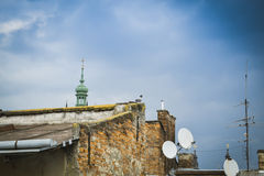 View of the old Lviv from the roof. Ukraine royalty free stock photo