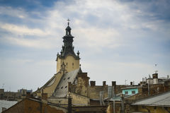 View of the old Lviv from the roof. Ukraine royalty free stock images