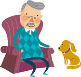 The view of old man stock illustration
