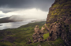 View from the Old Man of Storr, Isle of Skye, approaching rain Stock Images