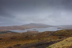 Isle of Skye Landscape under the cloudy sky. View from the old man of storr on the Isle of Skye. The mountain and sea landscape under the cloudy sky Royalty Free Stock Images