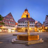 Herrenberg at Dusk, Germany. View of the old Market of Herrenberg, Germany Stock Images