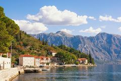 View of old Mediterranean town of Perast on the Bay of Kotor Adriatic Sea. Montenegro Stock Images