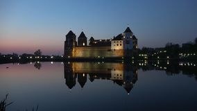 View of the old Mir castle, late April evening. Byelorussia. View of the old Mir castle in the late April evening. Byelorussia stock video footage