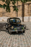 View of old model car for newlyweds in Aix-en-Provence. stock image