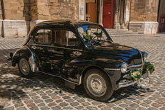 View of old model car for newlyweds in Aix-en-Provence. stock photography