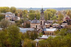 View of the old monastery. Torzhok. Russia. Monasteries of the old city. View from the bird`s-eye view stock images