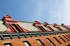 View of old Montreal. Montreal particular roofs of old wood royalty free stock image
