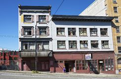 View of old neglected buildings in downtown area, Vancouver, Canada stock photo