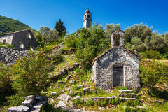 View on old ortodox church at moutains Royalty Free Stock Photos